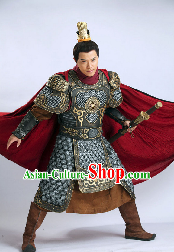 Chinese Ancient Superhero Fighter General Armor Costume and Helmet Complete Set
