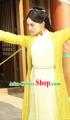 Ancient Asian Swordwoman Costume Complete Set for Women