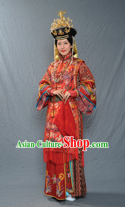 Chinese Ancient Imperial Empress Wedding Dresses and Phoenix Hat Complete Set