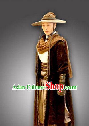 Ancient Chinese Swordsman Outfits and Hat Complete Set