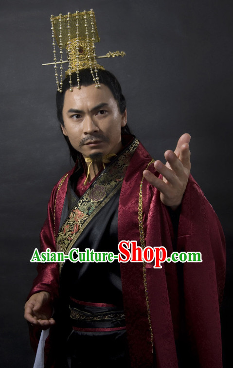 Ancient Han Dynasty Emperor Costume and Hat Full Set for Men