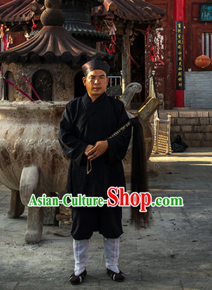 Black Taoist Clothing and Hat for Men