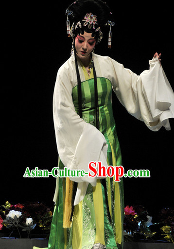 Ancient Opera Stage Performance Costumes and Hair Accessories Complete Set
