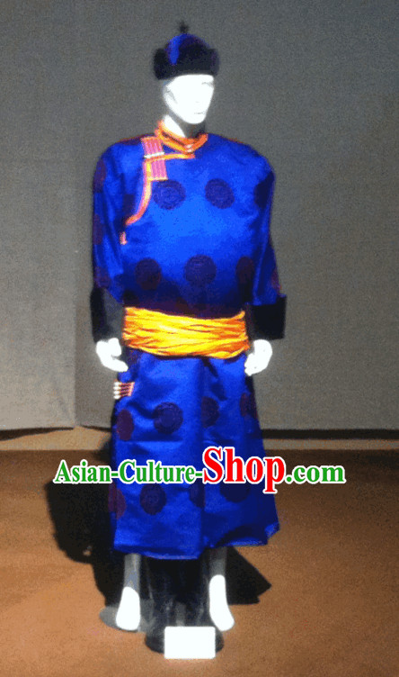 Blue Mongolian Long Robe and Hat for Men