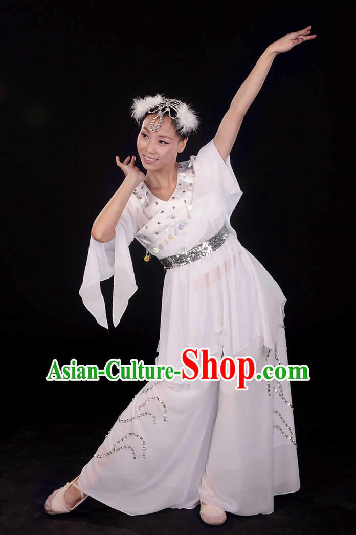 White Classic Dance Costume and Hair Decoration Complete Set for Women