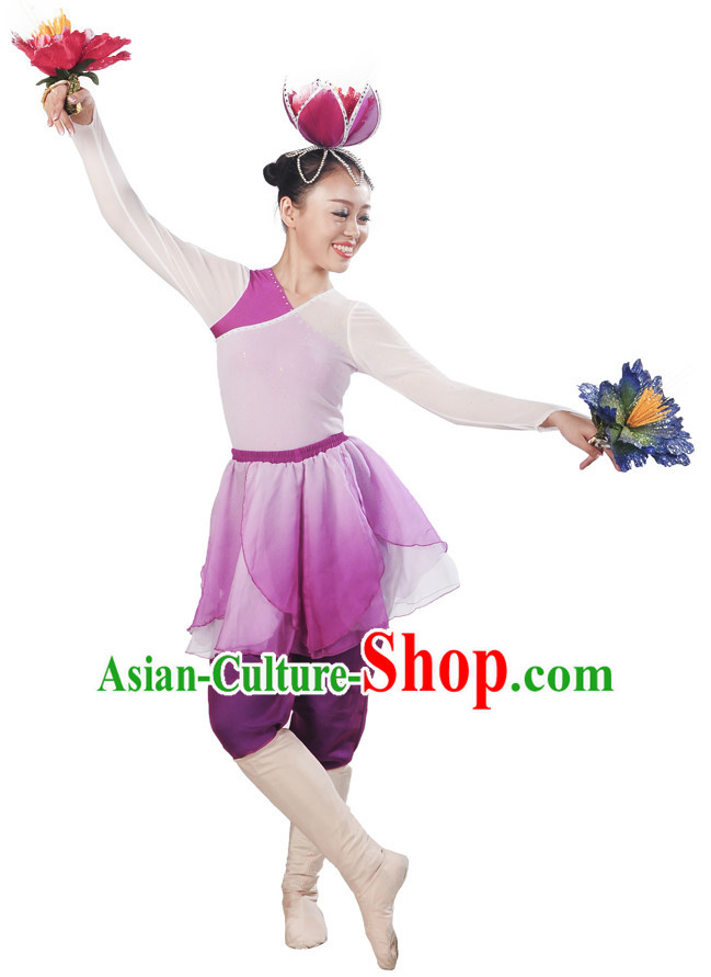 Purple White Flower Dancewear and Flower Hair Decorations Complete Set for Women