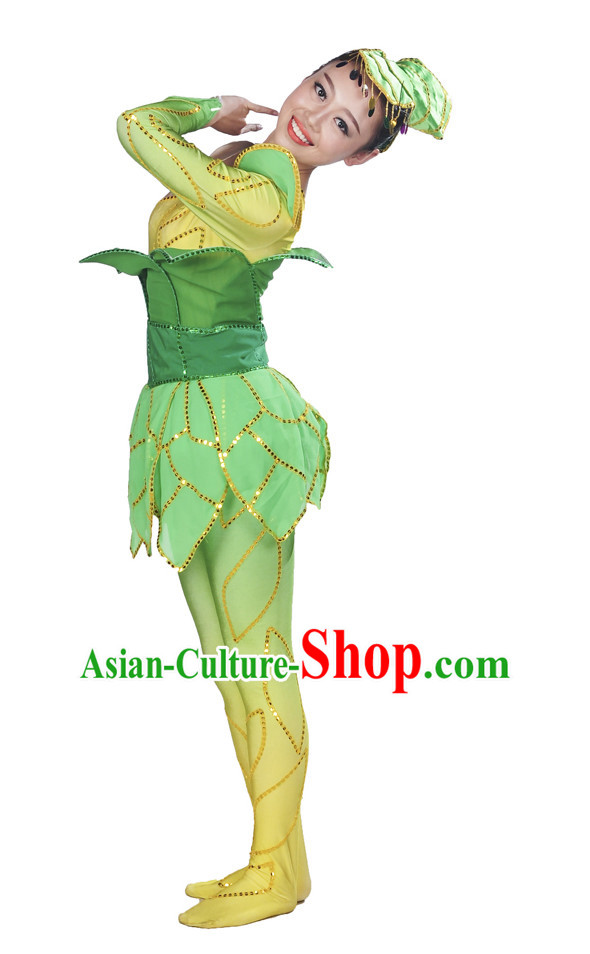 Stage Performance Pant Tree Costume and Headwear for Women.