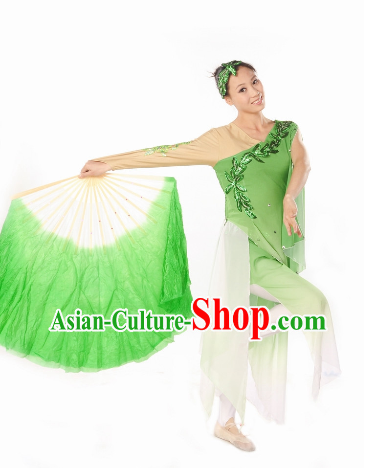 White Green Classical Dance Uniform for Women