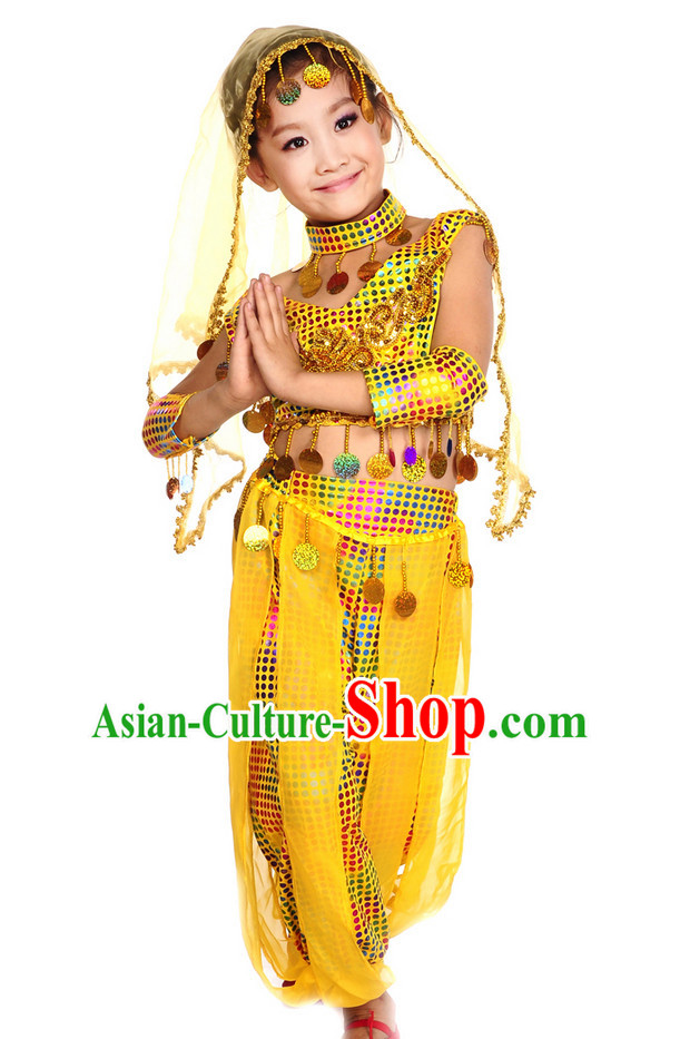 Yellow Xinjiang Dance Costumes and Veil for Kids