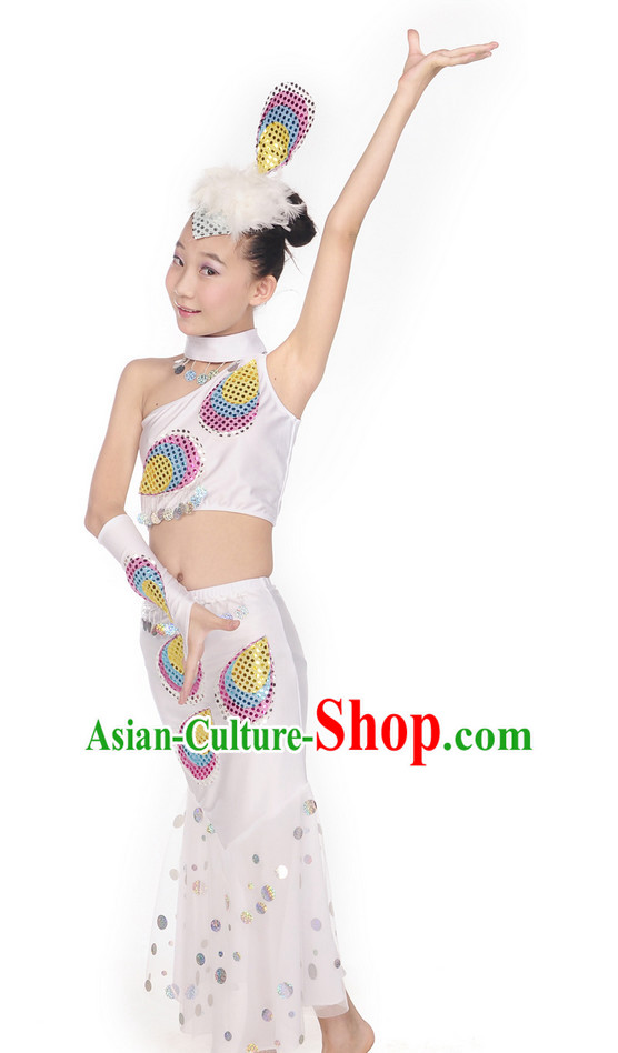 Yunnan Peacock Dance Costume and Headwear for Kids