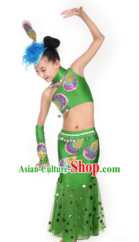 Green Yunnan Peacock Dance Costume and Headwear for Kids