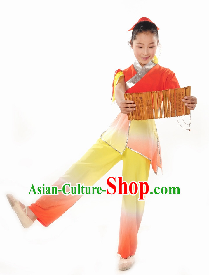 Ancient Student Dance Costumes and Headdress Complete Set for Children