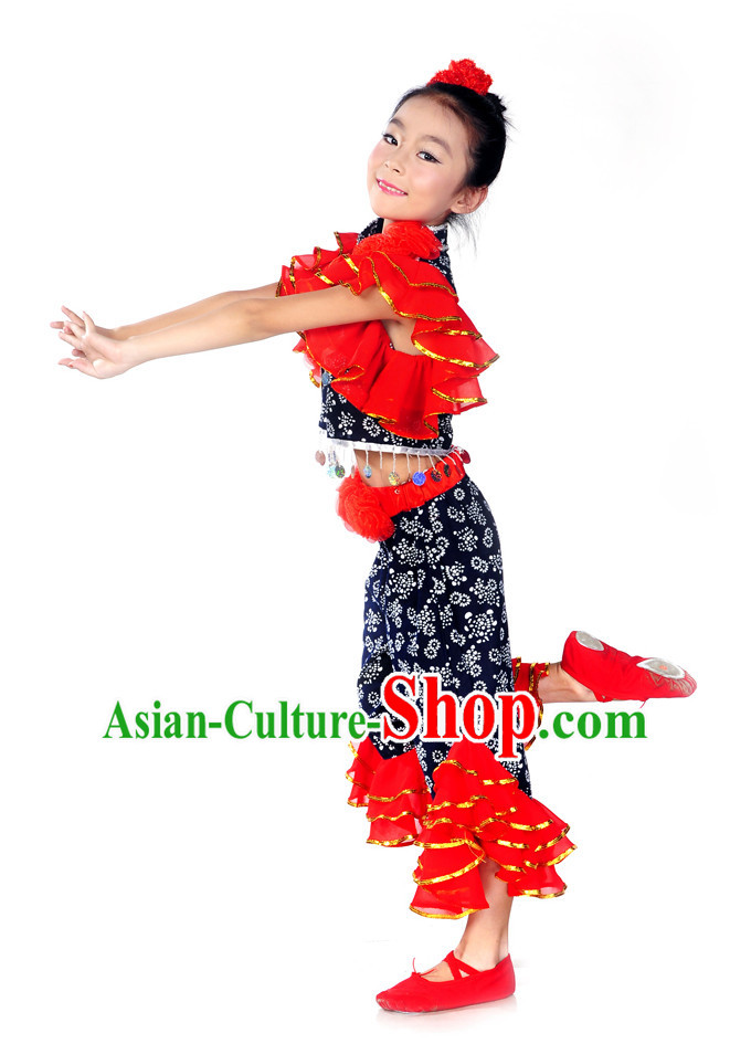 Folk Dance Costumes and Red Flower Hair Decorations for Kids