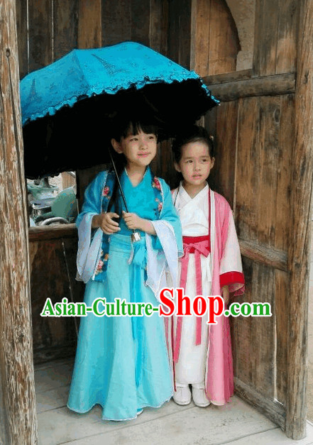 Ancient China Blue Hanfu Clothes for Kids