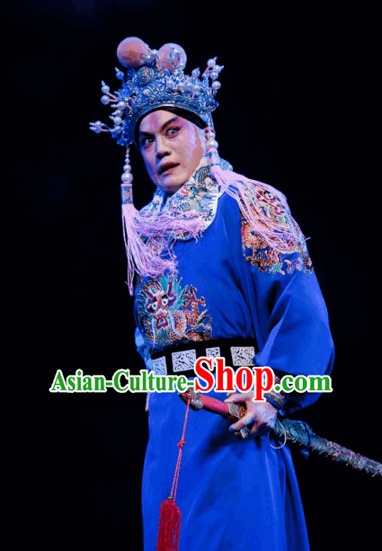 Ancient Chinese Opera General Costume and Hat Complete Set.