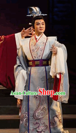 Ancient Chinese Opera Prince Costumes and Hat Complete Set for Men