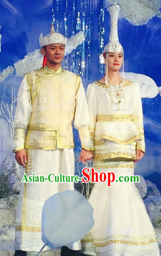 Mongolian Traditional Wedding Dresses and Hats for Men and Women