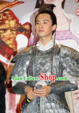 Asian Ancient General Armor Clothing and Headwear Complete Set