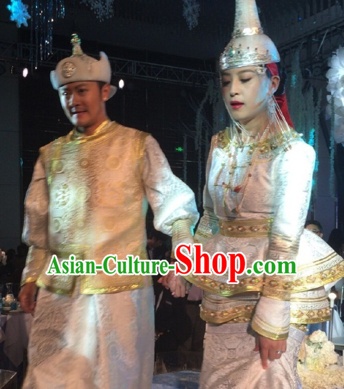 Mongolian Brides Wedding Dress and Hat for Women