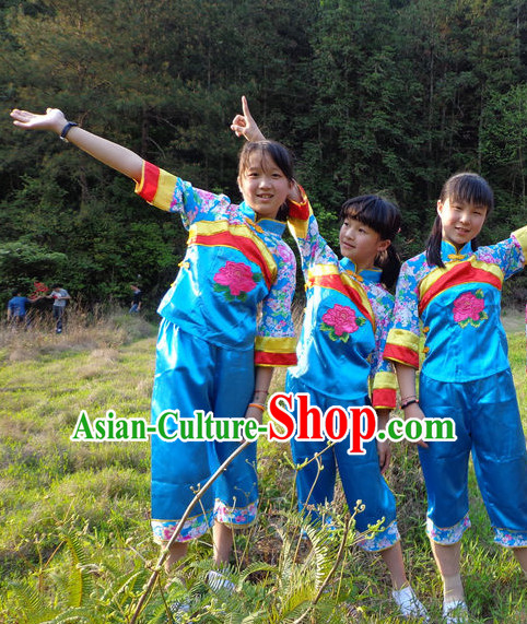 Traditional Hakka Style Dance Costumes for Kids