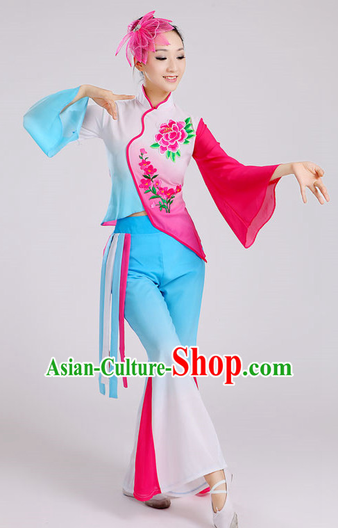 Traditional Jasmine Flowers Group Dance Costumes and Headwear