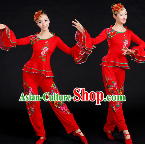 Chinese New Yer Gala Dance Costume and Headwear Compelte Set