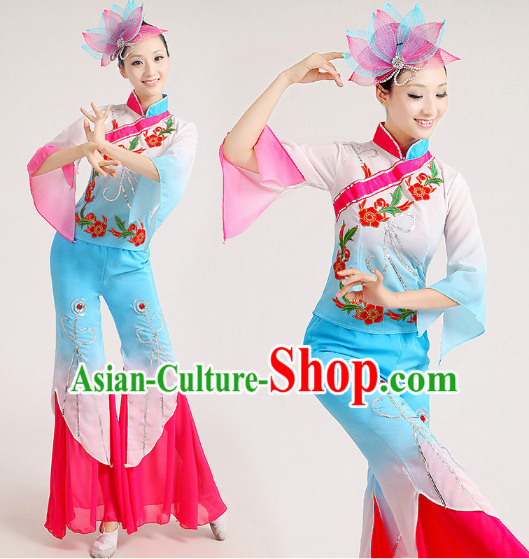 Chinese Folk Fan Dance Group Dancing Costume and Hair Jewelry Complete Set