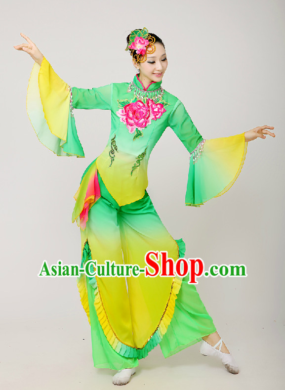 Chinese Folk Fan Group Dance Costume and Hair Jewelry Complete Set