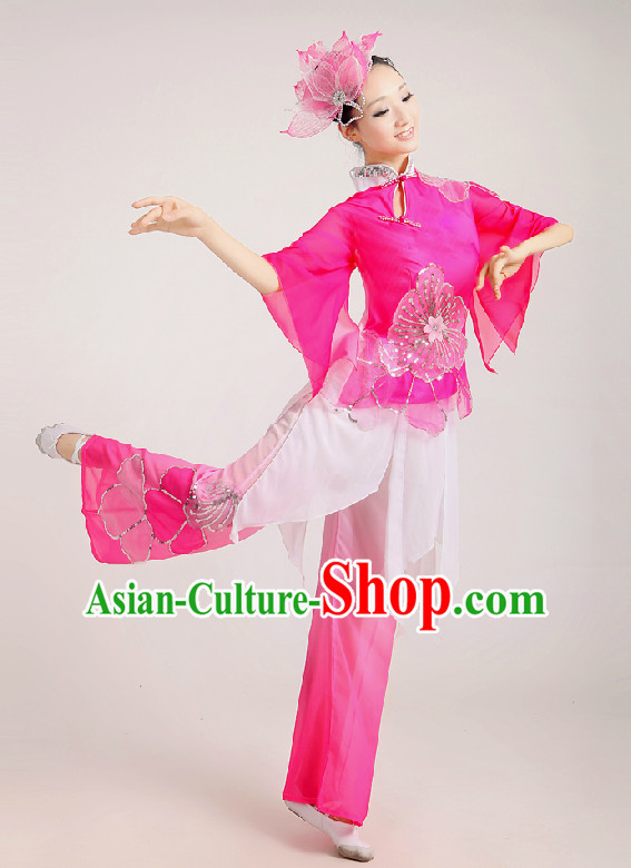 Pink Chinese Folk Fan Group Dance Costume and Hair Jewelry