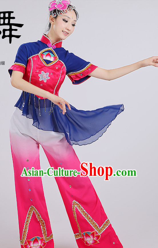 Chinese Group Fan Dancewear Dance Clothes and Headpieces Complete Set for Women