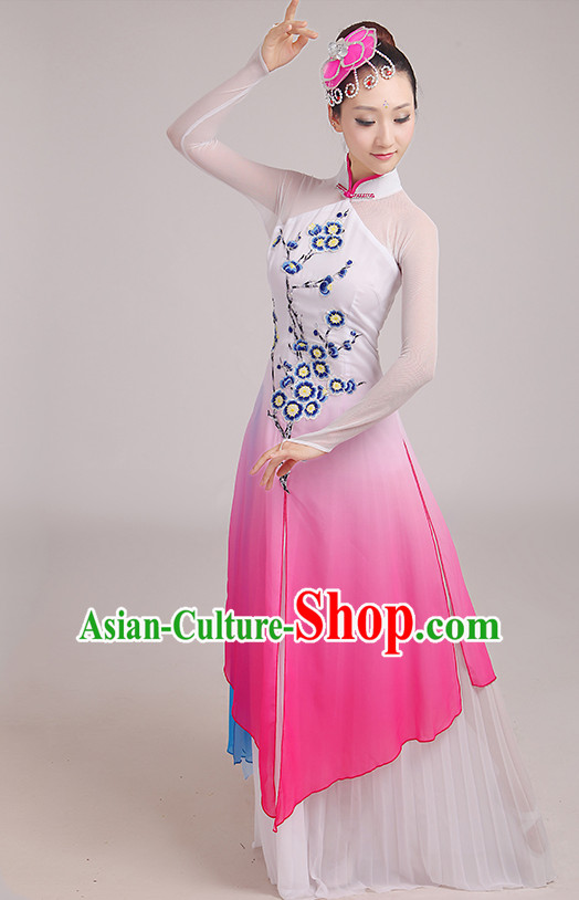 Chinese Classical Dance Costumes Dancing Clothes and Headpieces Complete Set for Woen