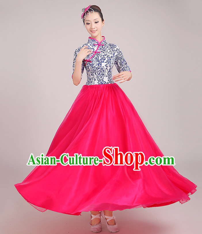 Chinese Classical Singing Group Dance Costumes and Headpieces Complete Set for Woen