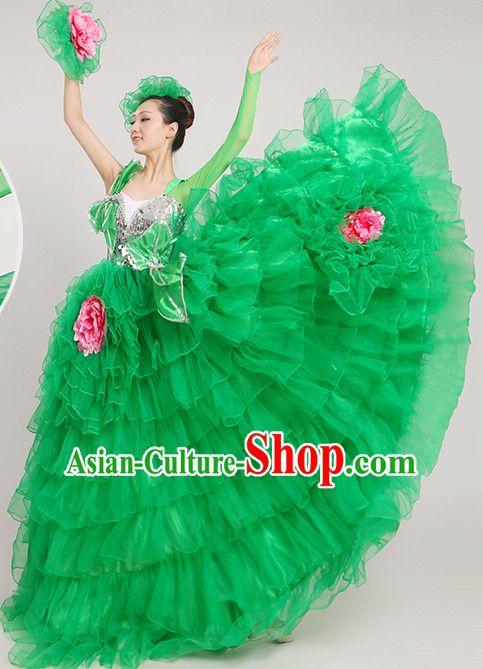 Chinese Ballroom Dancing Fan Dance Costume for Women
