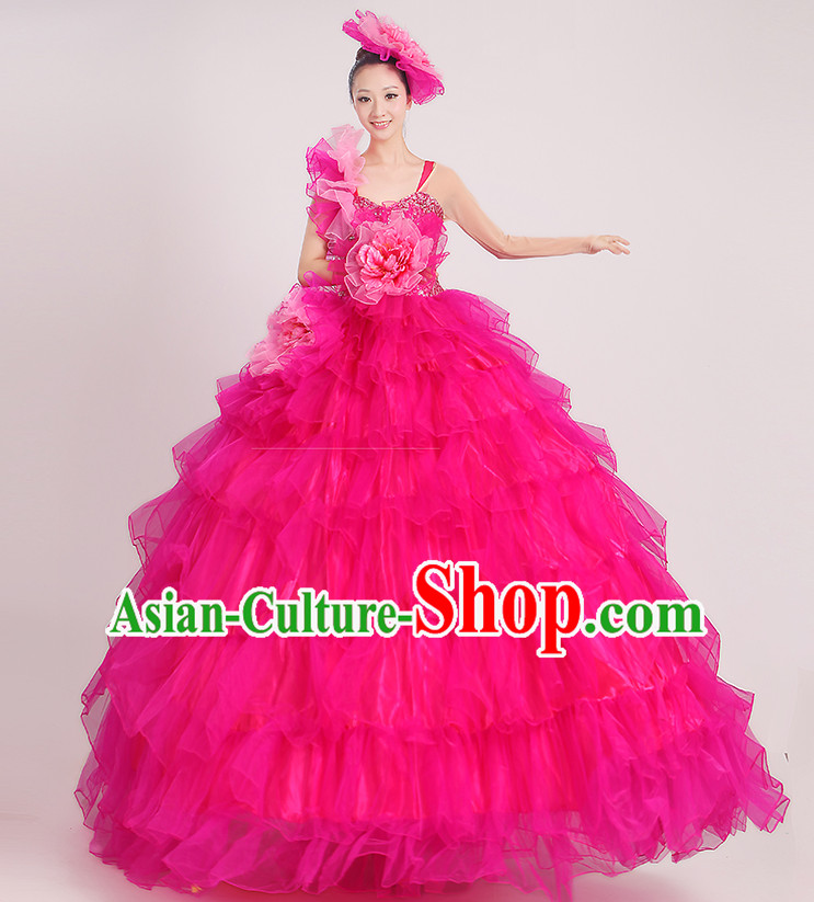 Chinese Flower Dance Ballroom Dancing Fan Dance Costume for Women