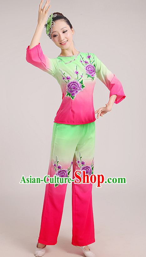 Chinese Folk Han Dance Fan Dancing Costume for Women