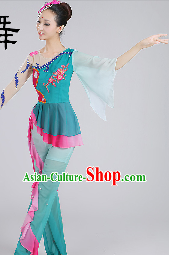Chinese Classic Fan Dance Costumes and Headpieces Complete Set for Woen