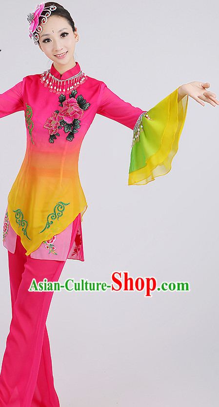 Wide Sleeves Chinese Group Fan Dance Costumes and Headpieces Complete Set for Woen