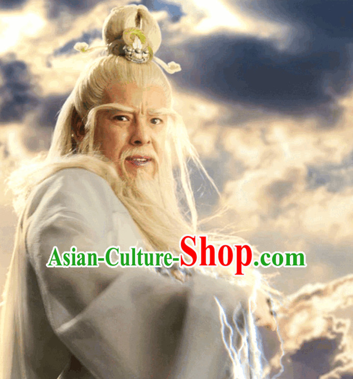 Ancient Chinese Grandfather White Long Wigs and Hair Accessories