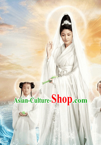 Chinese White Fairytale Guanyin Costume and Head Jewelry Complete Set