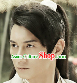 Chinese Ancient Swordsmen Black Long Lady Hair extensions Wigs Fascinators Toupee Long Wigs Hair Pieces and Accessories