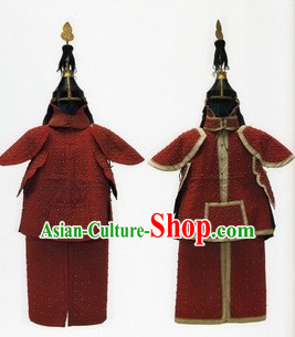 Chinese Classic Qing Dynasty General Armor Costume and Helmet