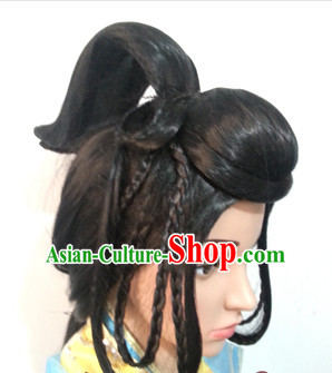 Chinese Ancient Fairy Lady Halloween Black Long Wigs