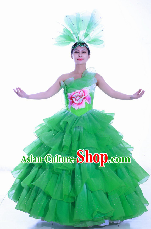 Chinese Made to Order Folk Dance Costume and Headpieces Complete Set