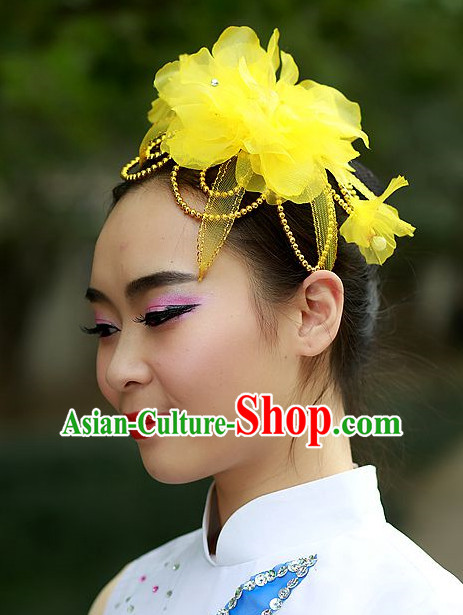 Yellow Chinese Folk Dance Headdress