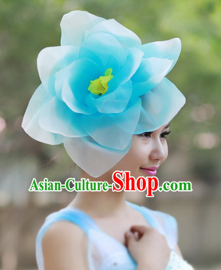 Blue Flower Chinese Folk Dance Headpieces