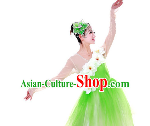 Chinese Custom Made Folk Jasmine Flower Dance Costume and Headpieces Complete Set for Women