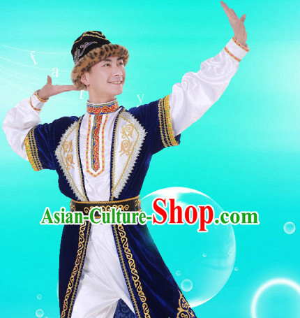 Chinese Custom Made Folk Xinjiang Dance Costume and Headpieces Complete Set for Men