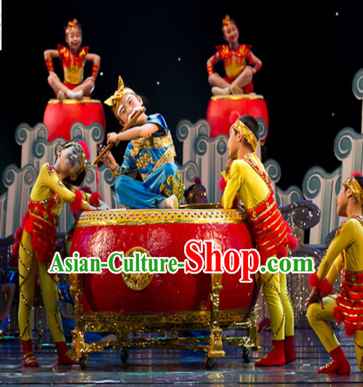 Top Chinese Quality Dance Costumes and Headdress Complete Set for Kids