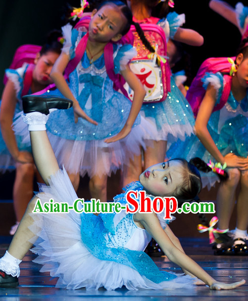 Modern Chinese Quality Dance Costumes and Headdress Complete Set for Kids