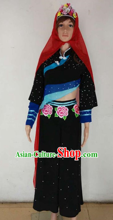 Chinese Quality Folk Dance Costumes and Headdress Complete Set for Kids